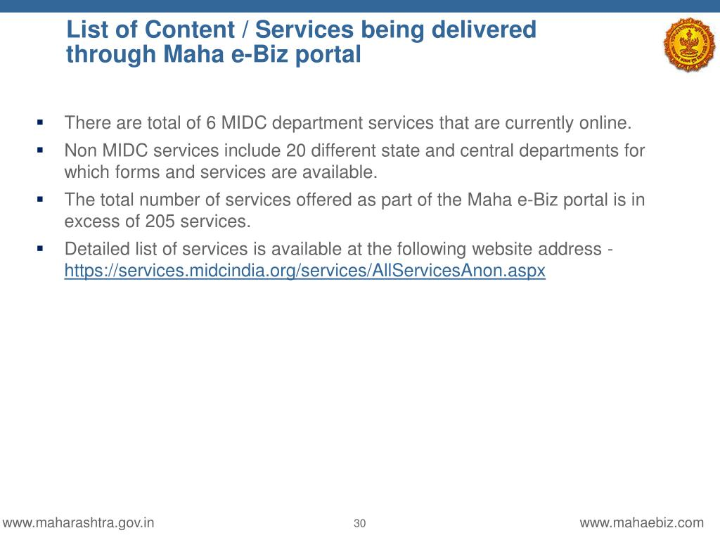 PPT - Government of Maharashtra Business Services Portal
