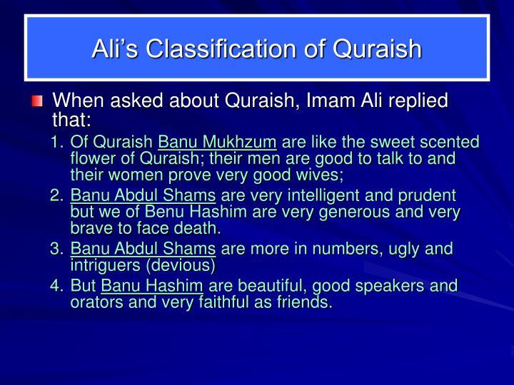 Ali's Classification of Quraish