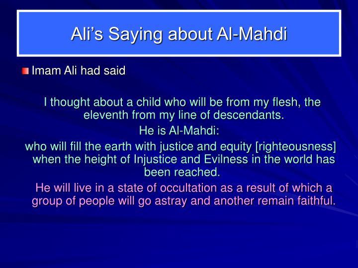 Ali's Saying about Al-Mahdi