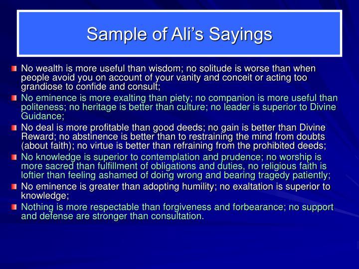 Sample of Ali's Sayings