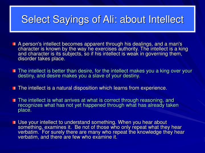 Select Sayings of Ali: about Intellect