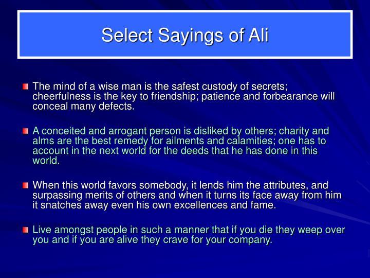 Select Sayings of Ali