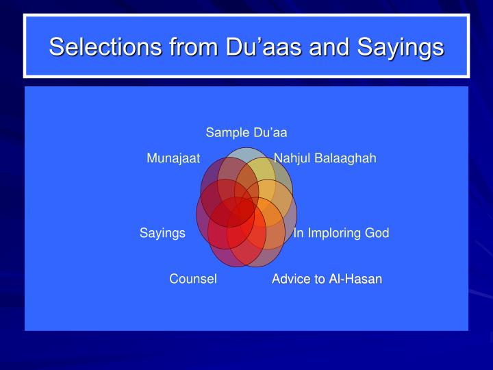 Selections from Du'aas and Sayings