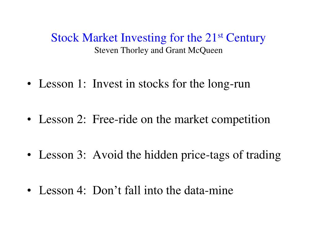 stock market investing for the 21 st century steven thorley and grant mcqueen l.