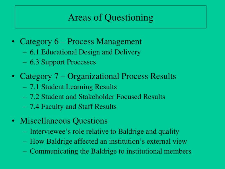 Areas of Questioning