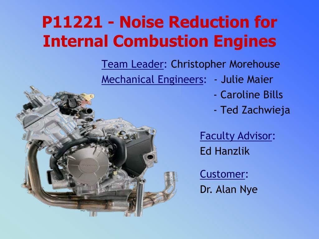 Ppt P11221 Noise Reduction For Internal Combustion Engines Engine Block Diagram N