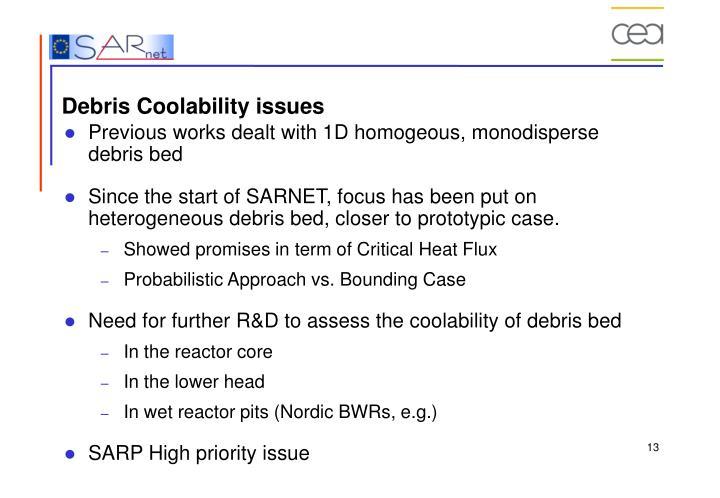 Debris Coolability issues