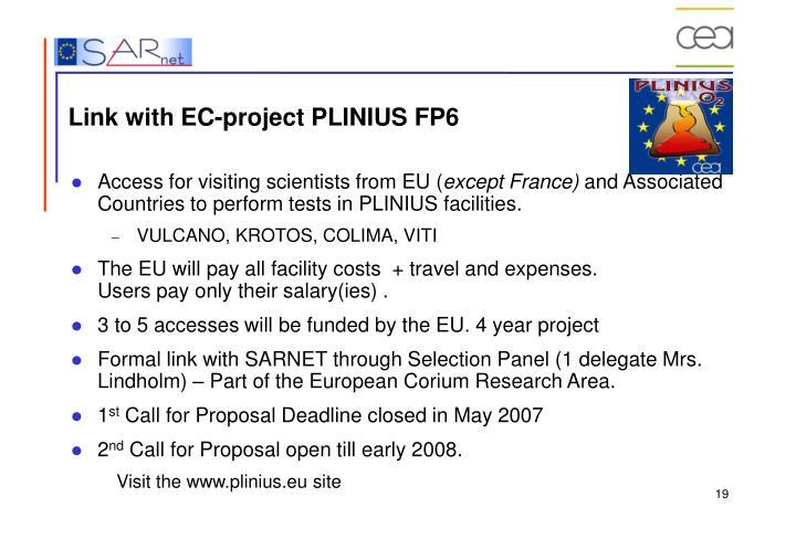 Link with EC-project PLINIUS FP6