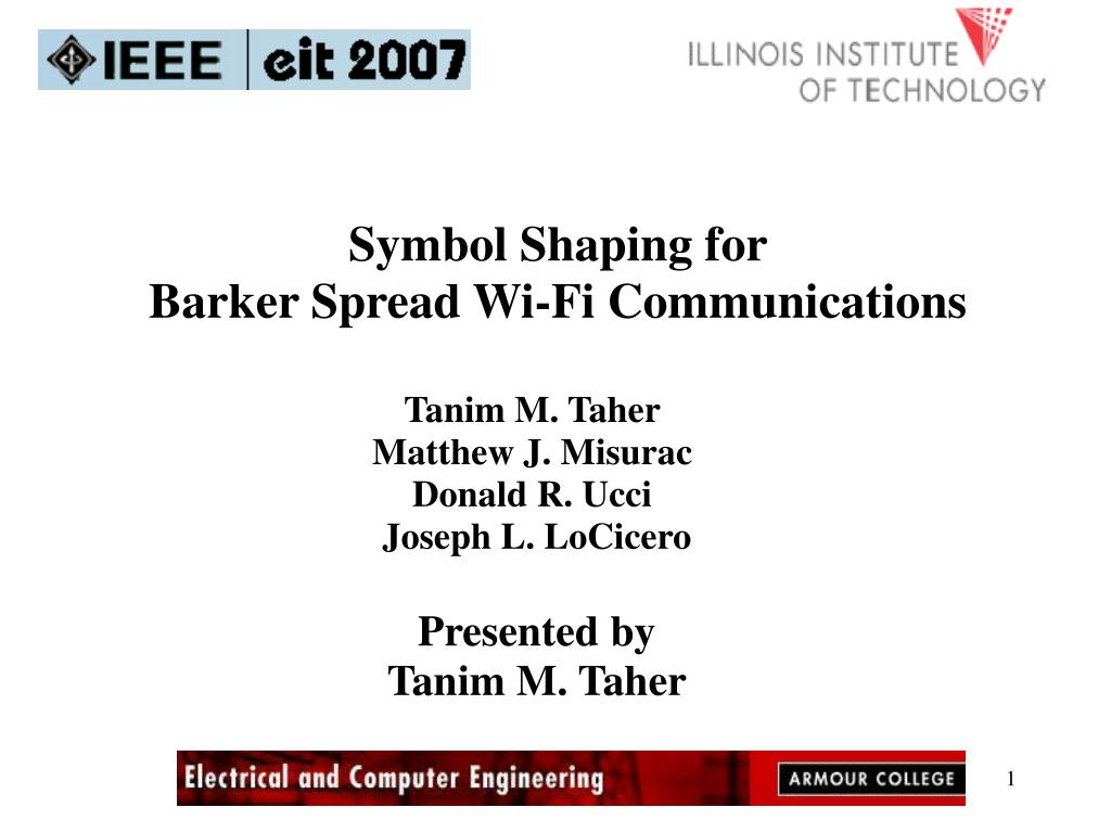 symbol shaping for barker spread wi fi communications l.