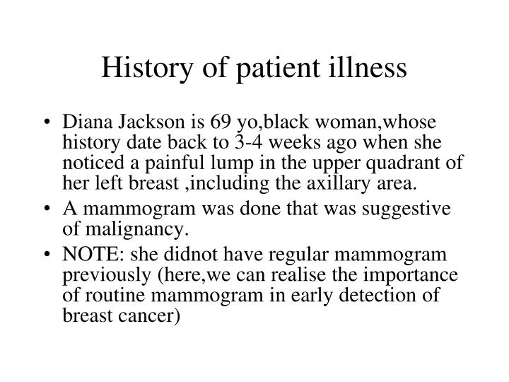 History of patient illness