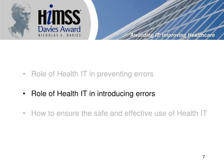 Role of Health IT in preventing errors
