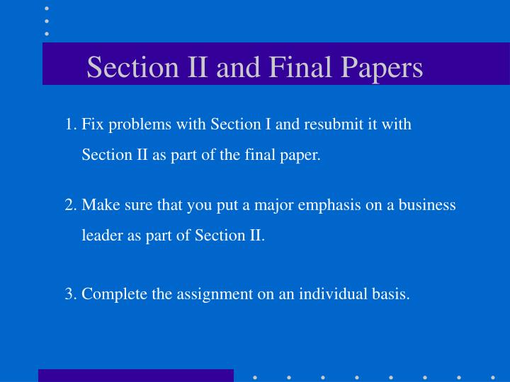 section ii and final papers n.