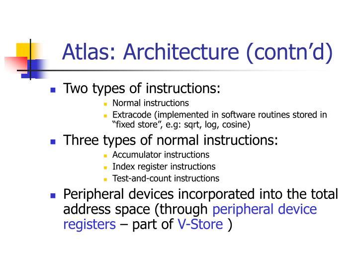 Atlas: Architecture (contn'd)