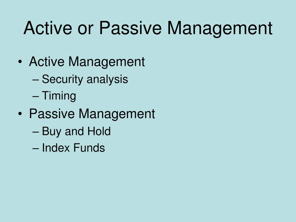 Active or Passive Management