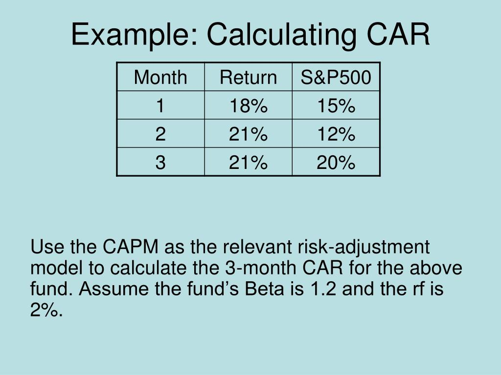 Example: Calculating CAR