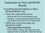 explanation for size and bv mv results