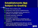 establishments not subject to grading