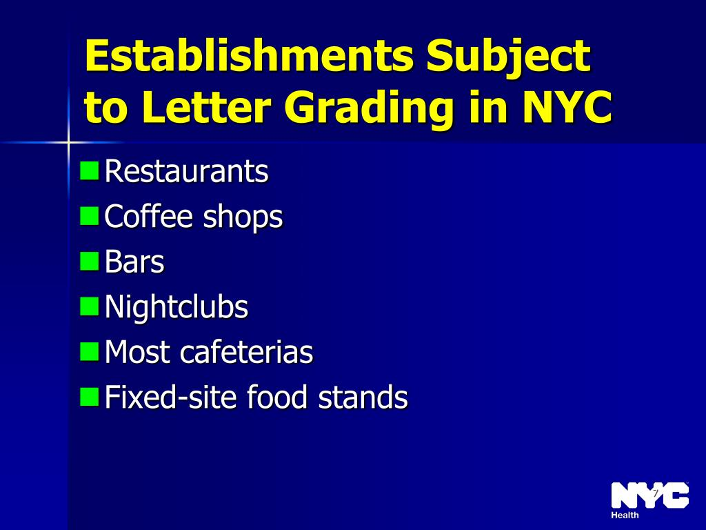 Establishments Subject to Letter Grading in NYC