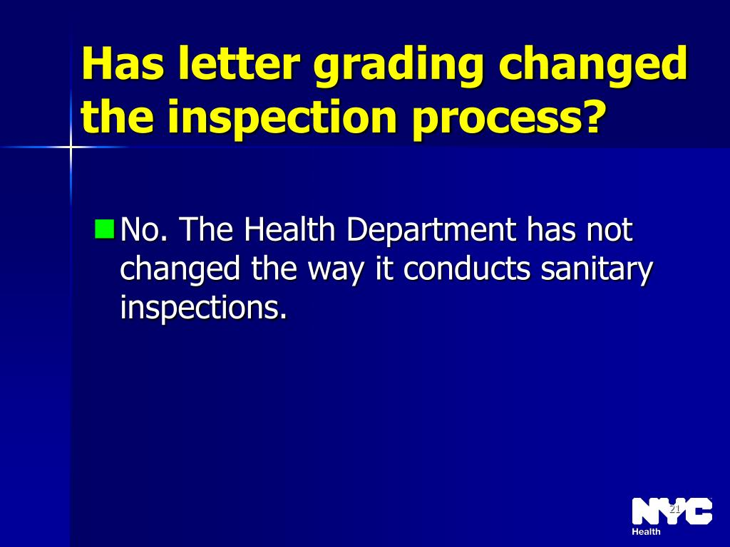 Has letter grading changed the inspection process?
