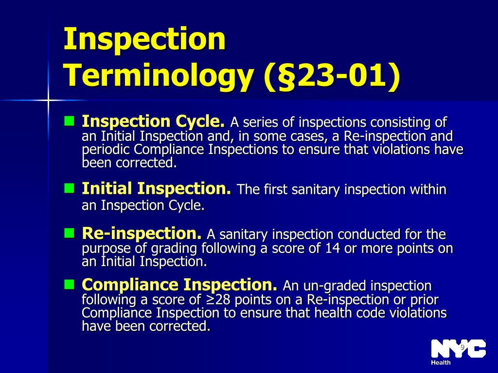 Inspection Terminology (§23-01)