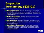 inspection terminology 23 01