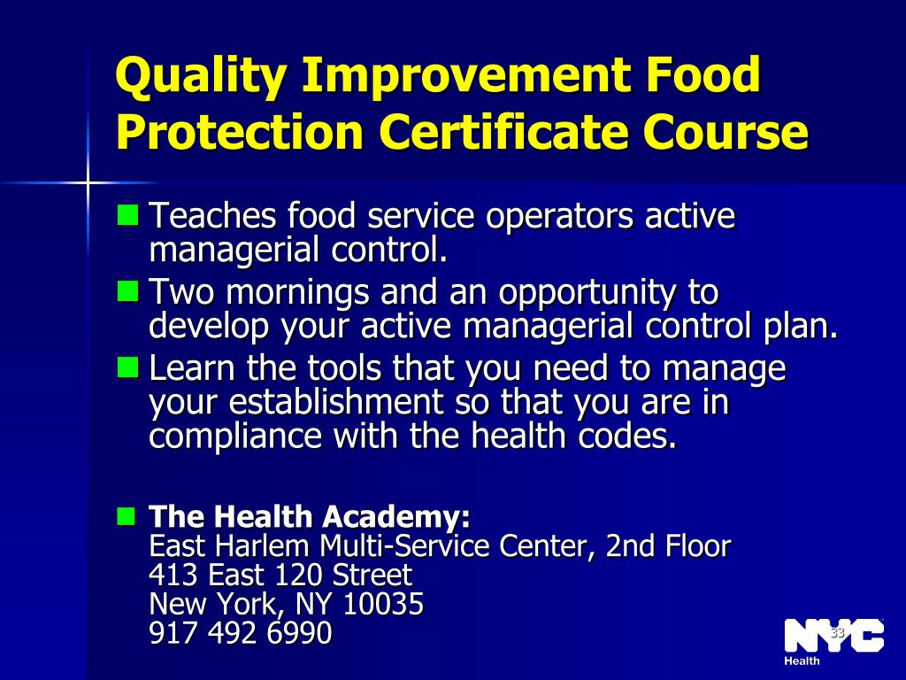 Quality Improvement Food Protection Certificate Course
