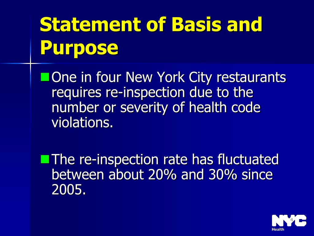 Statement of Basis and Purpose