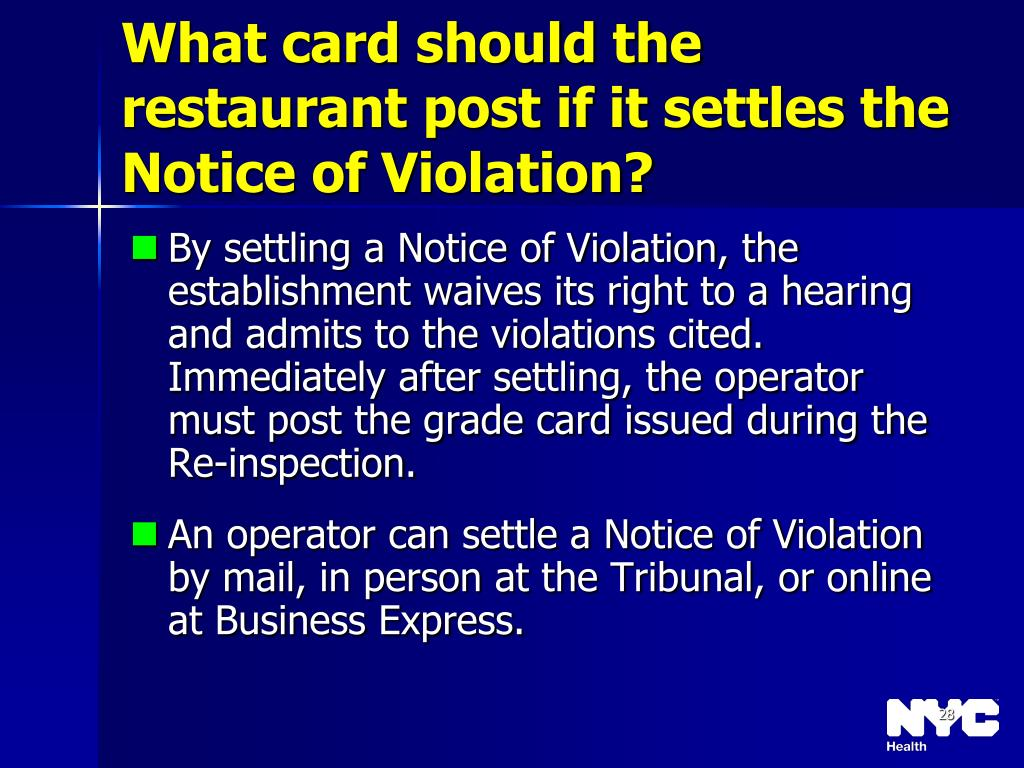 What card should the restaurant post if it settles the Notice of Violation?