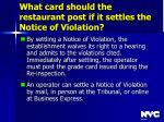 what card should the restaurant post if it settles the notice of violation