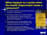 what happens to a grade when the health department closes a restaurant