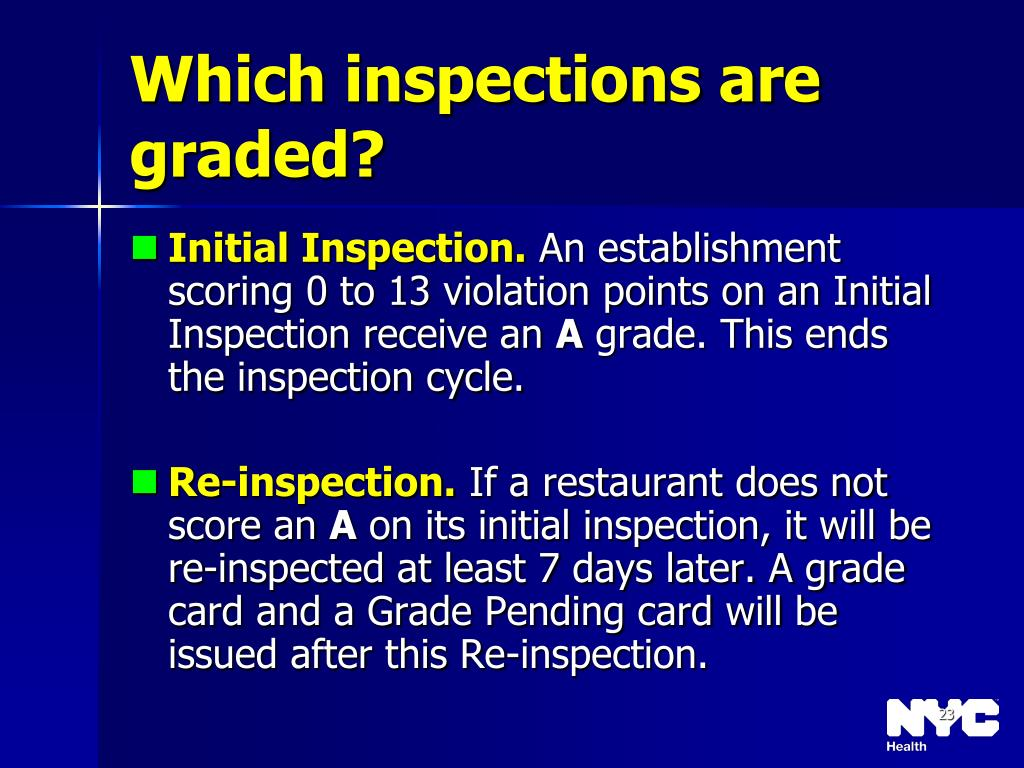 Which inspections are graded?