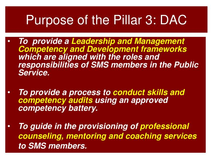 Purpose of the Pillar 3: DAC