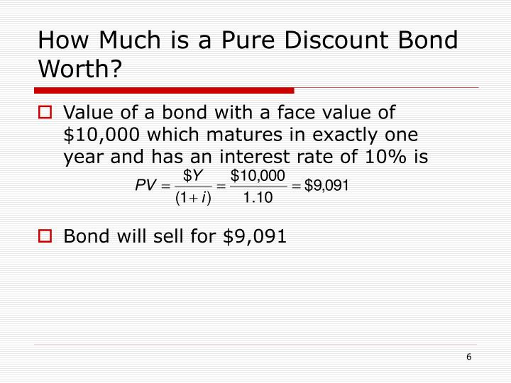 How Much is a Pure Discount Bond Worth?