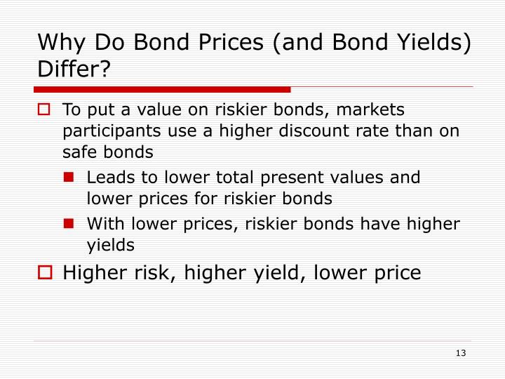 Why Do Bond Prices (and Bond Yields) Differ?