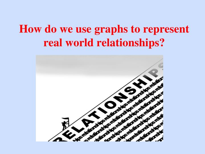 how do we use graphs to represent real world relationships n.