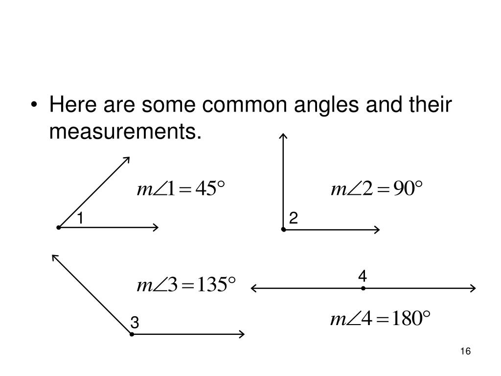 Here are some common angles and their measurements.