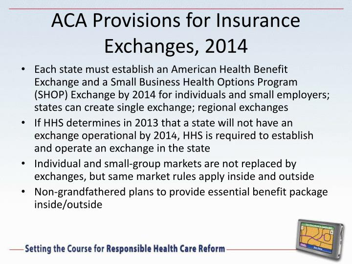 ACA Provisions for Insurance Exchanges, 2014