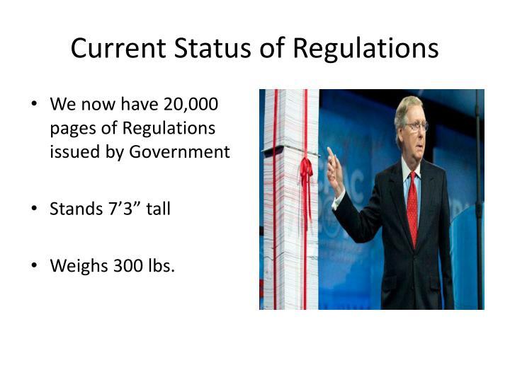 Current Status of Regulations