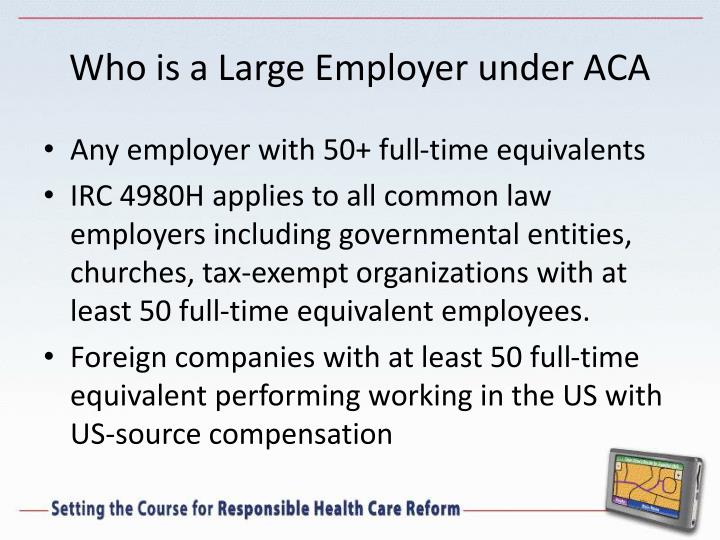 Who is a Large Employer under ACA