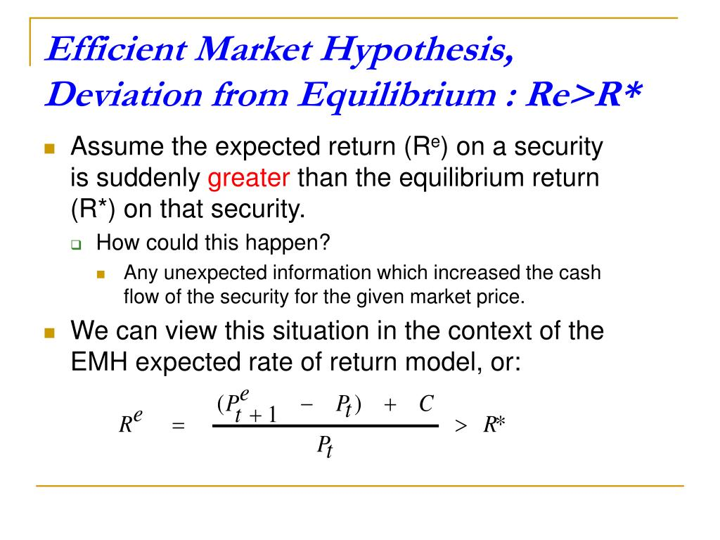 from the efficient market hypothesis to