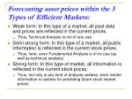 forecasting asset prices within the 3 types of efficient markets