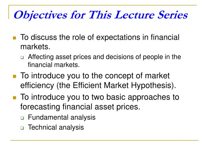 Objectives for this lecture series
