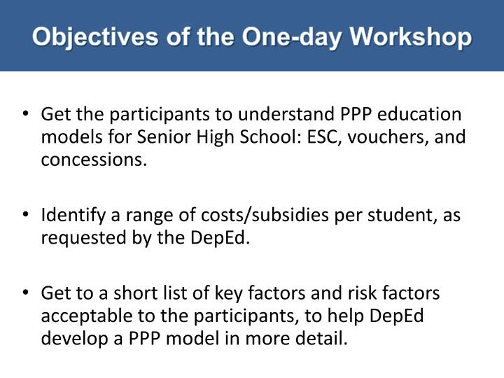 Objectives of the one day workshop