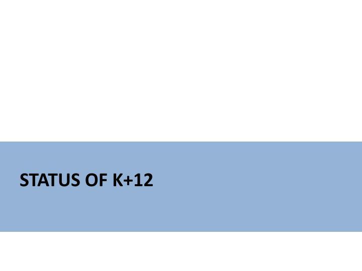 Status of K+12