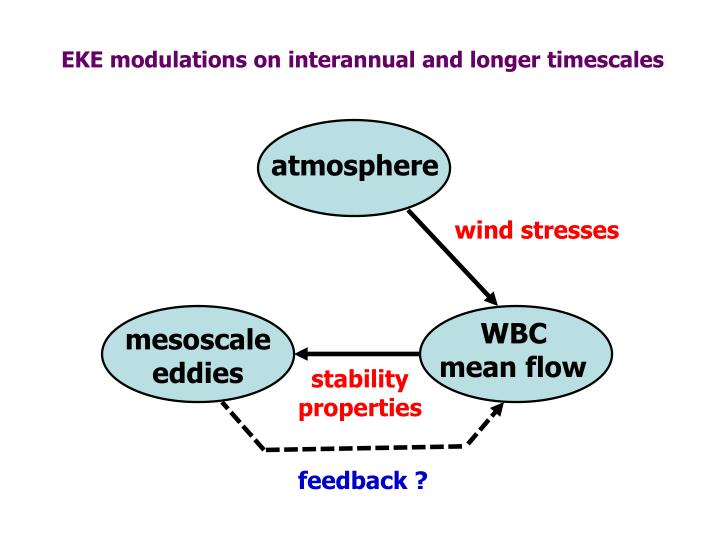 EKE modulations on interannual and longer timescales