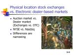 physical location stock exchanges vs electronic dealer based markets