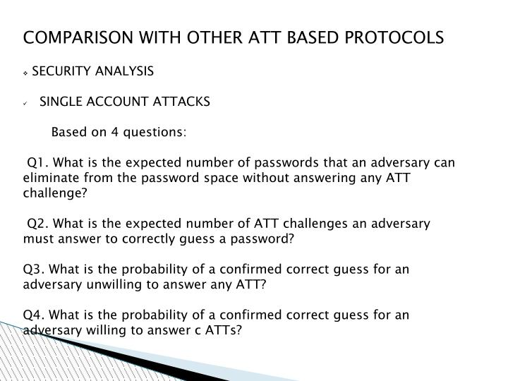 COMPARISON WITH OTHER ATT BASED PROTOCOLS