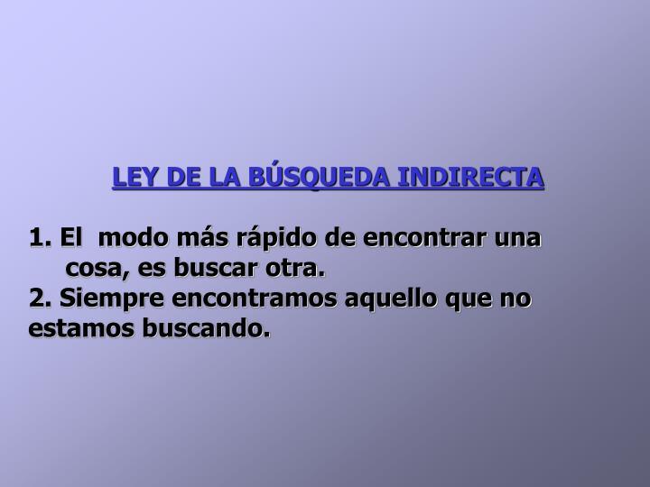LEY DE LA BÚSQUEDA INDIRECTA