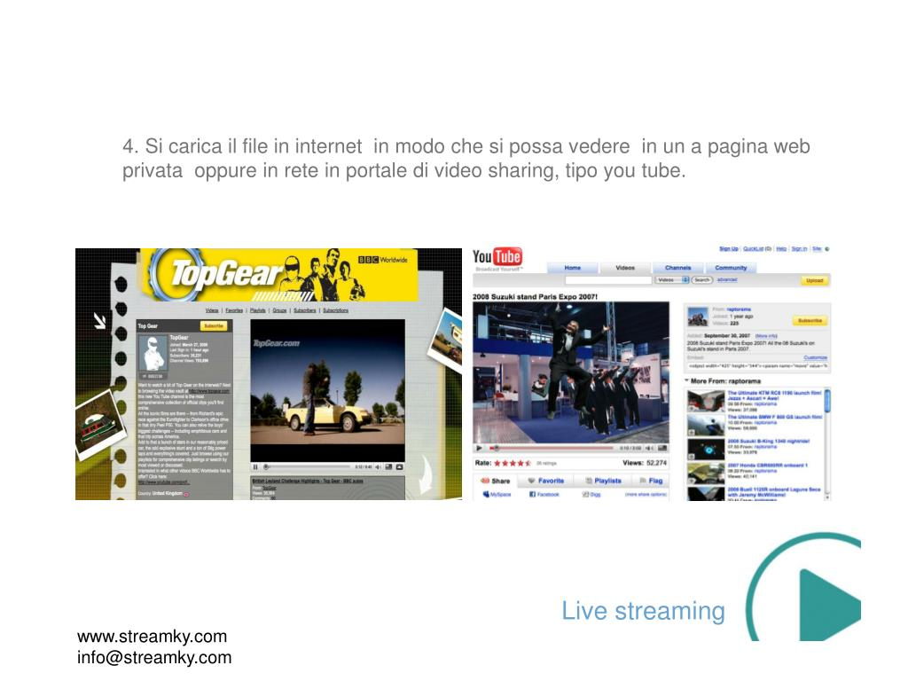 4. Si carica il file in internet  in modo che si possa vedere  in un a pagina web privata  oppure in rete in portale di video sharing, tipo you tube.