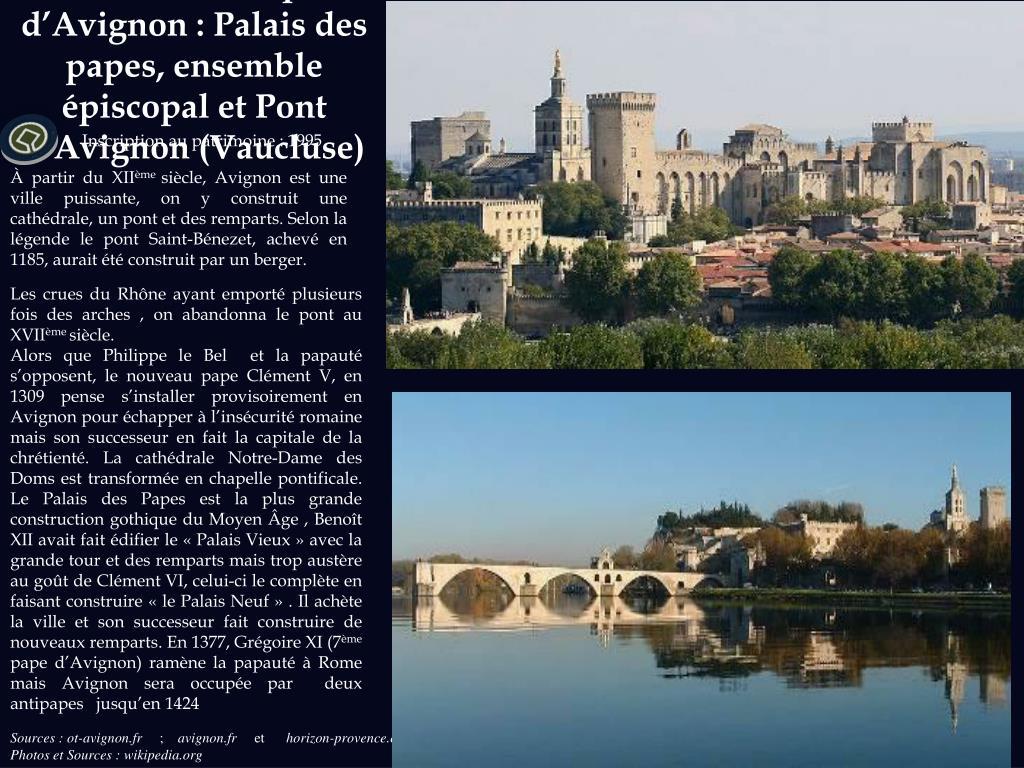 Centre historique d'Avignon : Palais des papes, ensemble épiscopal et Pont d'Avignon (Vaucluse)